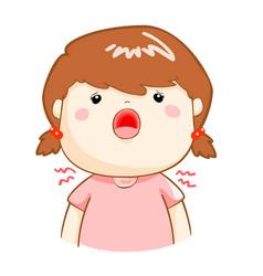 Ill girl sore throat cartoon vector