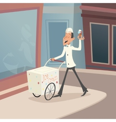 Happy smiling ice cream seller with cart on street vector