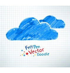 Felt pen of clouds vector