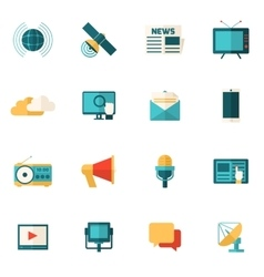 Media flat icons set vector