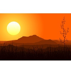 Sunset in mountains vector