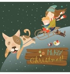 Funny dog pulling sledge with children vector