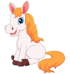 Cute horse sitting vector