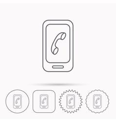 Smartphone icon cellphone with touchscreen sign vector