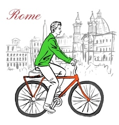 Man on bicycle in rome vector
