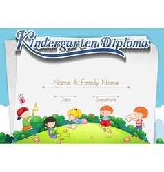 Certification template with children in the park vector