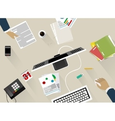 Business workspace in the office vector