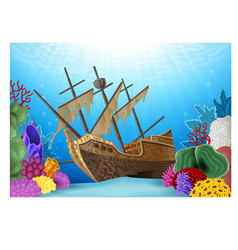 Cartoon of shipwreck on the ocean vector