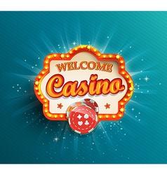 Casino shining retro light frame vector image