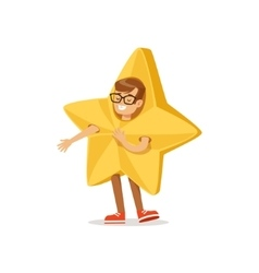 Boy in golden star outfit dressed as winter vector
