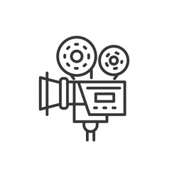 Camera - line design single isolated icon vector