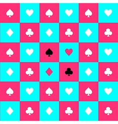 Card suits blue pink chess board background vector