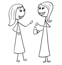 Cartoon of two women business people talking vector