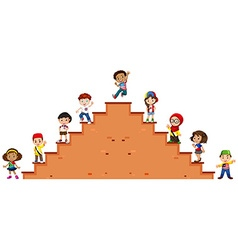 Children standing on the stairs vector