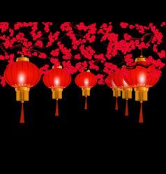 chinese new year in the park hung red chinese vector image vector image