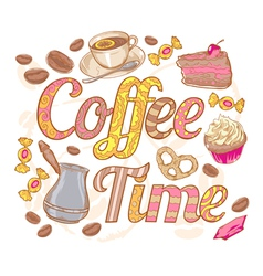 Coffee time colorful invitation card vector image vector image