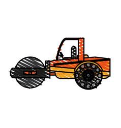 Color crayon stripe road roller machine vector