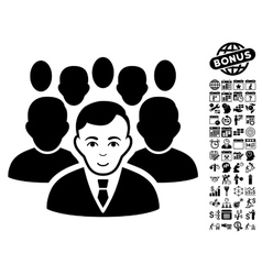 Crowd flat icon with bonus vector