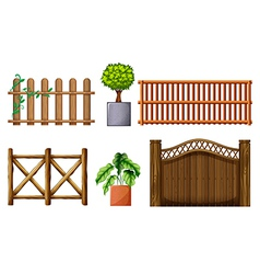 Different design of wooden fences vector