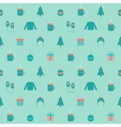 Festive flat Christmas and New year seamless vector image vector image