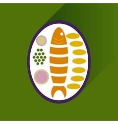 Flat with shadow icon fish on plate garnish vector
