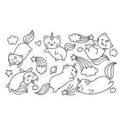 flying unicorn cat vector image