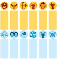 Funny blue and orange zodiac sign icon set vector