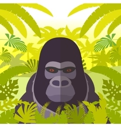 Gorilla on the jungle background vector