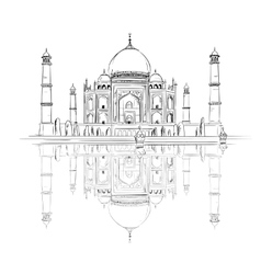 Hand drawn taj mahal with reflection vector