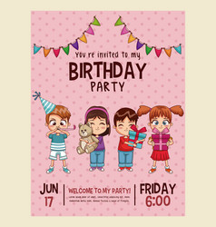 Happy birthday invitation pink card vector