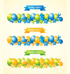 Happy easter banners set vector