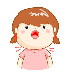 Ill girl sore throat cartoon vector