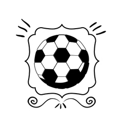 monochrome frame with soccer ball vector image vector image
