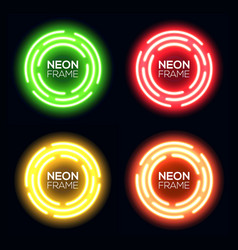 Neon light circle set shining round techno frame vector