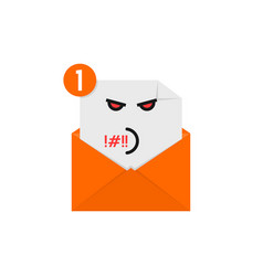 Rude emoji in orange letter notification vector