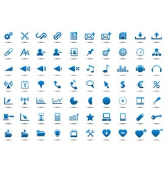 Set of blue icons vector