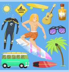Surfing active water sport surfer summer time vector