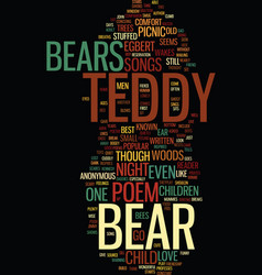 Teddy bear songs and poems text background word vector