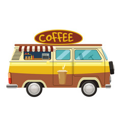 Van mobile cafe icon cartoon style vector