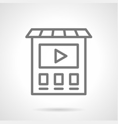 Video ads on building simple line icon vector