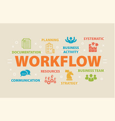 workflow concept with icons vector image vector image