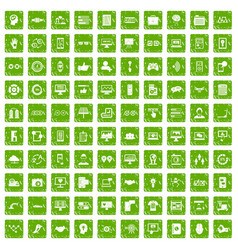 100 interface icons set grunge green vector