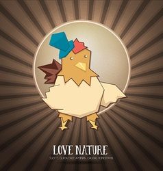 With nature and chicken vector