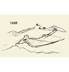 Sketch great wall of china vector