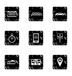 Taxi order icons set grunge style vector