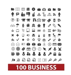 100 business and office icons signs set vector