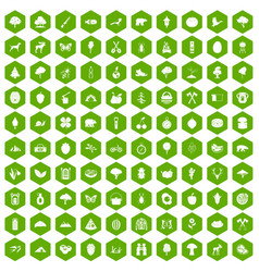 100 camping and nature icons hexagon green vector