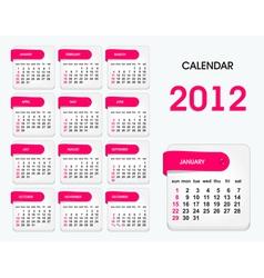 2012 calendar template vector