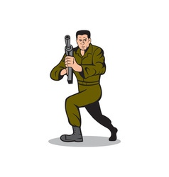 Soldier aiming sub-machine gun cartoon vector