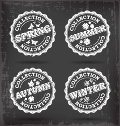 Season collection stamps vector